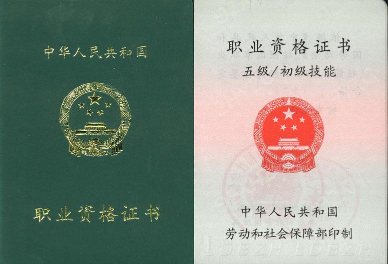 国家职业资格证书样式?如何进行职业技能鉴定? 资料 第1张