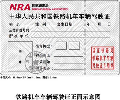铁路司机驾驶证样本 火车司机证有几种?火车司机代码及对应的准驾机车车辆类型 资料