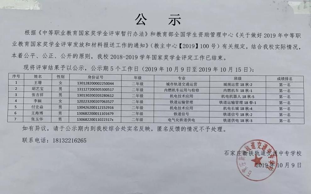 石家庄铁路技校中职国家奖学金名单 石家庄铁路技校中职国家奖学金名单 教育资讯