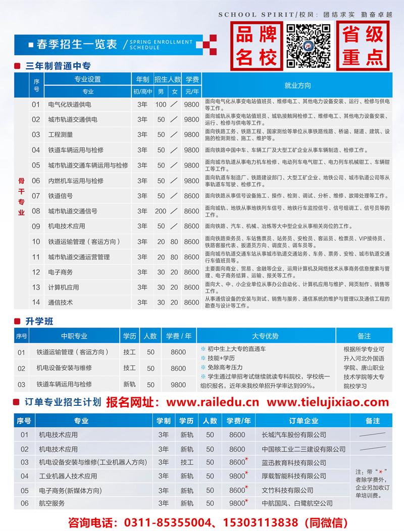 石家庄铁路学校2020年春季招生简章 铁路技校2020春季招生简章(图) 招生信息 第3张